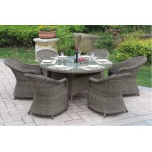 229 / Liz.p22- 7PC OUTDOOR PATIO TABLE SET [P50266(1)+P50135(6)]