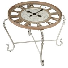 Clock Table with Distressed White Scroll Legs