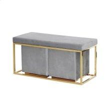 S/3 Gray/gold Velveteen Bench/stools Kd