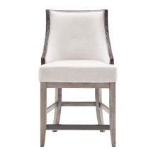 """Stone-Textured Resin and Ash Wood 24"""" Counter Stool in Cream"""
