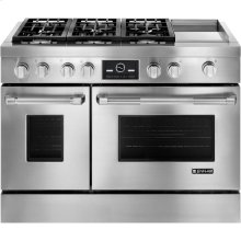 """Pro-Style® 48"""" Dual-Fuel Range with Griddle and MultiMode® Convection, Pro-Style® Stainless Handle"""