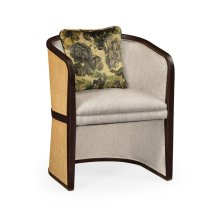 Dark Brown Ash & Woven Rattan Tub Chair, Upholstered in COM