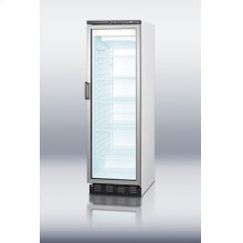 Commercially approved full-sized display freezer with frost-free operation and keyed lock