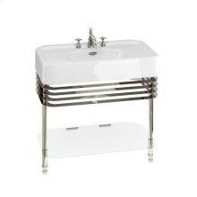 "Arcade 36"" Console Set with Metal Base - 1 Faucet Hole, Polished Chrome"