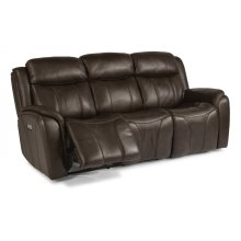 Paisley Leather Power Reclining Sofa with Power Headrests
