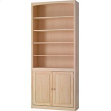 Pine 36 Inch Bookcase with Doors