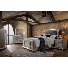 Venetia Champagne Queen Bedroom Set: Queen Bed, Nightstand, Dresser & Mirror