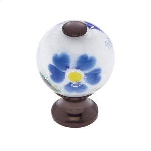 Old World Bronze 30 mm White Knob w/Flowers Product Image