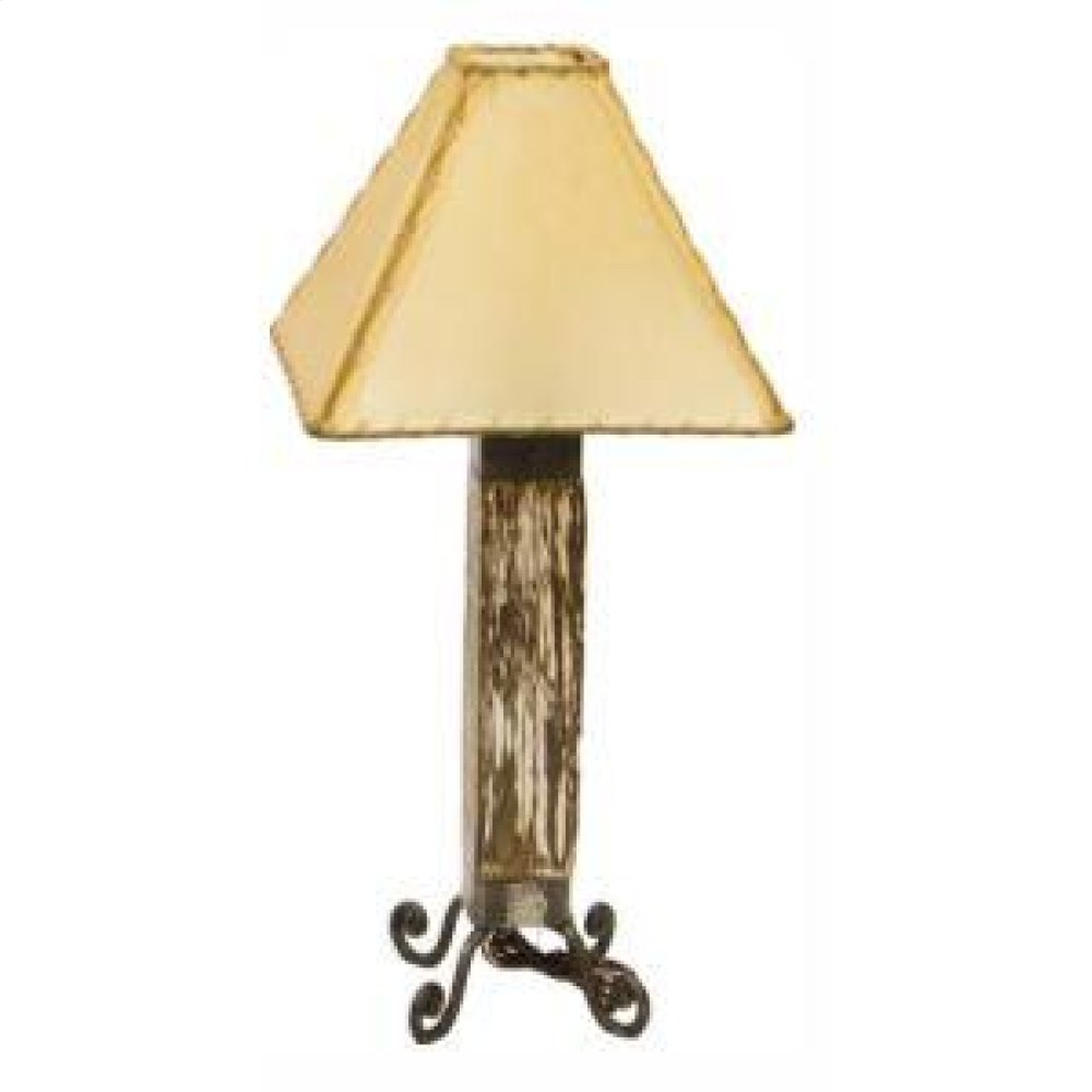 White Dark Wood & Iron Lamp