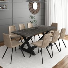 Zax/Buren 9pc Dining Set, Brown