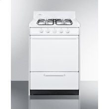 """White Gas Range In Slim 24"""" Width With Electronic Ignition and Sealed Burners"""