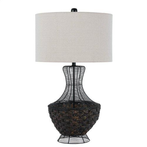 150W 3 Way Maranametal Mesh/Wicker Tabe Lamp