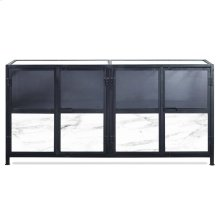 BARSTOW SIDEBOARD  Black Finish on Metal Frame with Marble and Plexiglass  4 Door