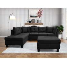 9126 Linen Fabric Sectional Sofa - Left