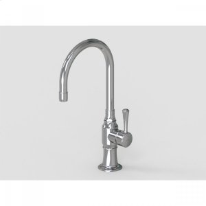 """Brushed Stainless - 7"""" Swivel Deck Mount Single Hole Bar Faucet Spout with Right Metal Contemporary Lever Product Image"""