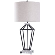 WINDSOR TABLE LAMP  Painted Black Finish on Metal Body with Crystal Top and Base  Hardback Shade