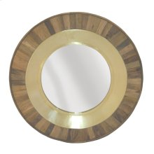 Round Wood/gold Mirror