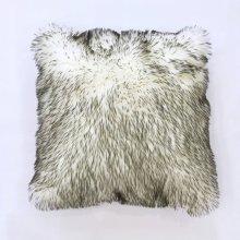 Fox faux fur pillow - White Grey Rug