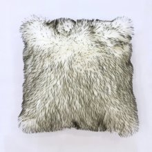 Fox faux fur pillow - White Grey Rug