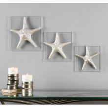 Silver Starfish Wall Decor, S/3