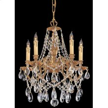 Novella 5 Light Spectra Crystal Brass Mini Chandelier