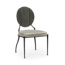 Outdoor Grey Weather Dining Side Chair, Upholstered in Standard Outdoor Fabric