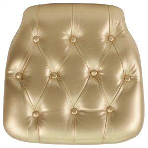 Hard Gold Tufted Vinyl Chiavari Chair Cushion Product Image
