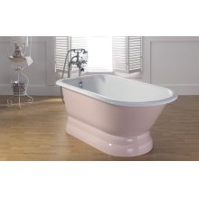 "TRADITIONAL Cast Iron Tub with Pedestal Base With 3 3/8"" Faucet Holes in Tub Wall"
