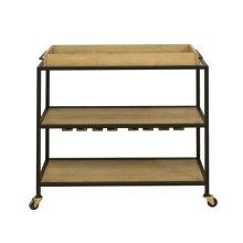 Light Oak & Iron Bar Cart