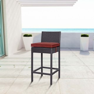 Convene Outdoor Patio Fabric Bar Stool in Espresso Currant