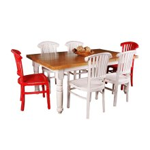 CC-TAB1139SO4TLD-WWSV-7PC  7 Piece Cottage Whitewashed Dining Set