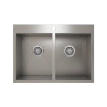 ProInox H0 50/50 Double Bowl Topmount Kitchen Sink ProInox H0 18-gauge Stainless Steel, 28'' X 16'' X 9''