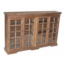 Pine 4-Door Narrow Bookcase