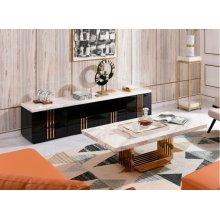 Modrest Kingsley Modern Marble & Rosegold TV Stand