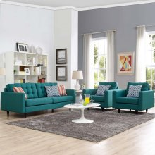 Empress Sofa and Armchairs Set of 3 in Teal