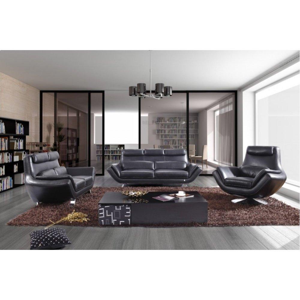 Divani Casa 9009 Modern Black Leather Sofa Set