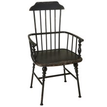 Distressed Black Spindle Arm Chair