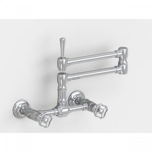 "Brushed Stainless - Wall Mount 17 3/4"" Articulated Dual Swivel Spout with Metal Wheel Product Image"