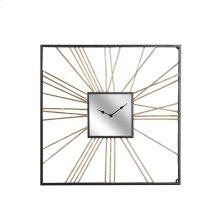 Square Gold Metal Mirror Clock, Wb