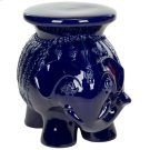 Navy Glazed Ceramic Elephant Stool - Navy Product Image