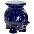 Navy Glazed Ceramic Elephant Stool - Navy Product Image