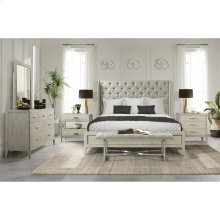 Lilly - King Upholstered Shelter Headboard - Champagne Finish