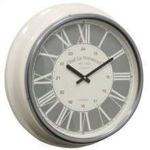 Metal & Glass Wall Clock  19in X 19in X 4in