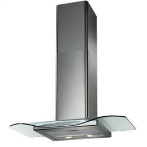 "WCG 36"" Clear Glass Canopy w/Stainless Chimney Extension"