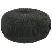 Large Green Velvet Round Pouf with Smocking