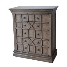 Sedgwick Overlaid Geometric 5 Drawer Tall Chest in Antique Natural Walnut Finish