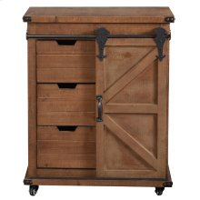 Graham  33in X 15in X 27in  Cart Cabinet with 1 Door 3 Drawers in Natural Wood Finish with Locking