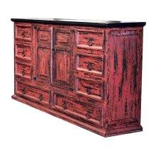 Red Scraped Dresser Mansion
