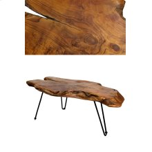 Badang carving natural teak coffee table with clear lacquer finish