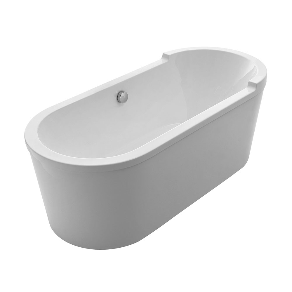 Bathhaus oval double-ended single-sided armrest freestanding bathtub made of Lucite® acrylic with a chrome mechanical pop-up waste and a chrome center drain with an internal overflow.